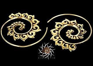 Brass Earrings - Brass Spiral Earrings - Gypsy Earrings - Tribal Earrings - Ethnic Earrings - Indian Earrings - Statement Earrings (EB9)