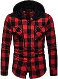 Blusa de Hombre Camisetas de Cuadros Ocasionales de los Jersey Blusa con Capucha Superior Cosiendo Manga Larga con Capucha para Hombre (Rojo - A115, Large)
