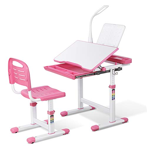 LAZY BUDDY Kids Desk and Chair Set, Height Adjustable School Children Study Table with LED Lamp, Bookstand, Wood Tilting Tabletop, Drawer Storage, for 3-15 Years Old Students (Pink)