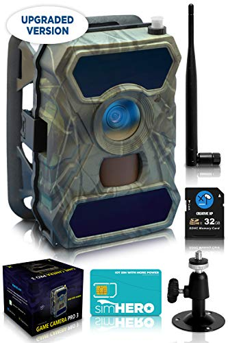 CreativeXP 3G Cellular Trail Cameras - AT&T Full HD Wild Game Camera with Night Vision for Deer Hunting, Security - Wireless Waterproof and Motion Activated - Tree Mount Included (1-Pack)