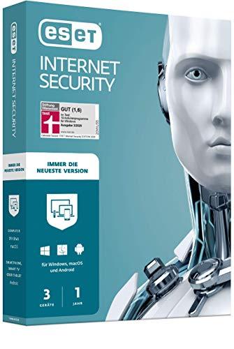 ESET Internet Security 2020 | 3 Geräte | 1 Jahr | Windows (10, 8, 7 und Vista), macOS, Linux und Android | Aktivierungscode in Standardverpackung