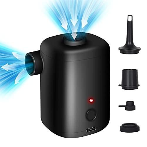 FreeLionVon Bomba de Aire Eléctrica para Hinchables/Desinflador con Batería Recargable USB de 3000mAh 5 Boquillas Bomba de Aire para colchón de Aire, Piscina, Bote Hinchable, sofá Inflable