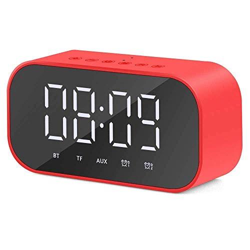 YXFYXF Digitaler Wecker für den Nachttisch, digitaler Wecker, kabelloser Bluetooth-Lautsprecher, unterstützt LED-Display, Temperatur, USB-Kabel, MP3, Spiegel, Tischuhr, Digitalwecker
