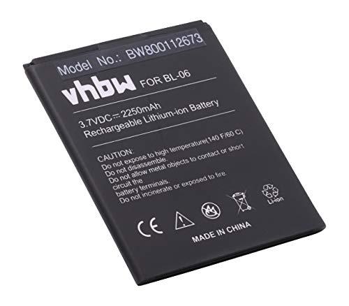 vhbw Li-Ion Akku 2250mAh (3.7V) für Handy Smartphone Telefon THL T6, T6 Pro, T6c, T6s wie BL-06.