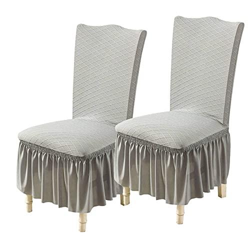 Stretch Stuhlhussen mit Rock, Möbelschutz Anti-Staub leicht zu reinigen Langlebiger Spandex Jacquard Stuhl für Hochzeit Esszimmer Hotel Bankett Dekor-2 Stück-grau