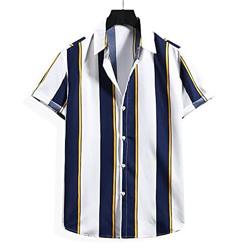 Camisa Casual Hombre A Rayas Verano Hombres Transpirables Camisa Playa De Arena Botones Diseño Moda Camisa...