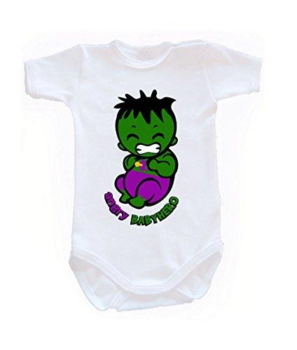 Couleur Mode bébé Hulk bodies à manches courtes 100% coton Petit bébé – 24 mois – 0009 blanc 3-6 months, 68 cm