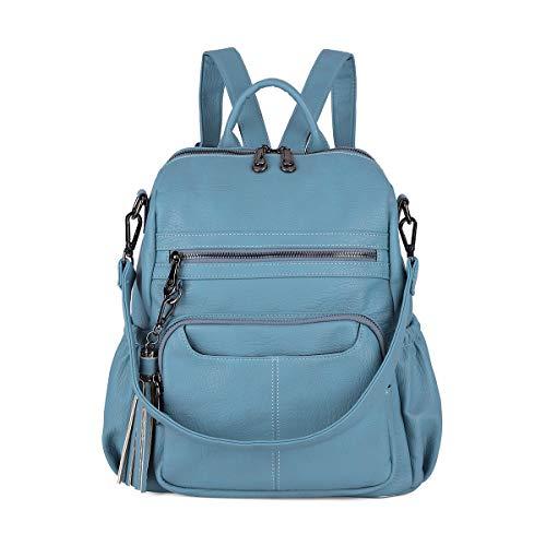 Women Bags Backpack Purse PU Leather Zipper Bags Casual Backpacks Shoulder Bags (DK8532#K273#6RIVER BLUE)