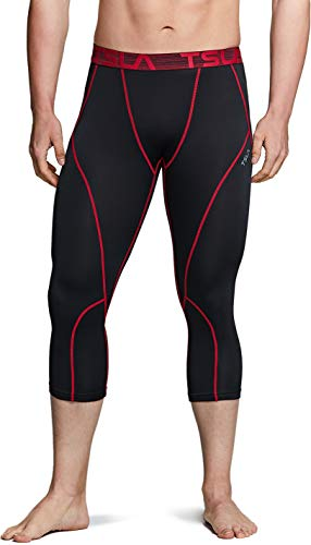 TSLA Men's Thermal Compression Pants, Athletic Running Tights & Sports Leggings, Wintergear Base Layer Bottoms, Thermal Capri(yuc52) - Black & Red, X-Small
