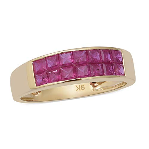 TJC AAA Ruby Band Ring for Women in 9ct Yellow Gold Wedding Jewellery Size M, TCW 2ct