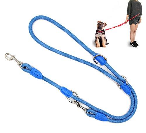BPS Correa para Perro Mascotas Correa de Perro Doble Ajustable Varias Posiciones Perro Mediano Grande 2 Dimensión Elegir M/L (L, Azul) BPS-3801AZ