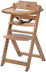 Safety 1st 27620100 Timba Barnstol med Avtagbara Bord av Massivt Bokträ, från ca 6 månader till ca 10 år (max. 30 kg), Brun