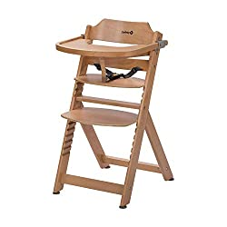 Safety 1st Timba self-adjusting highchair, incl. Removable table, made of solid beech wood, high backrest, from approx. 6 months to approx. 10 years (max 30 kg), beech wood, natural wood (brown)