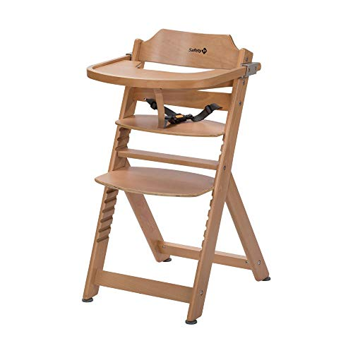 Safety 1st Timba Trona de madera con bandeja, Trona evolutiva para ninos 6 meses - 10 anos (30 kg), Regulable an altura,color Madera natural