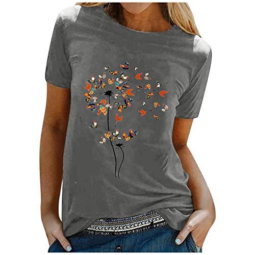 Womens Funny Graphic Short Sleeve T Shirt Cute Chicken Dandelion Print Tees Summer Casual Round Neck Tops Farmer Gift Dark Gray