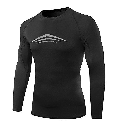 Amzsport, maglietta da uomo a compressione, a maniche lunghe, funzione BaseLayer, Thermisch mit Baumwolle Innere, M