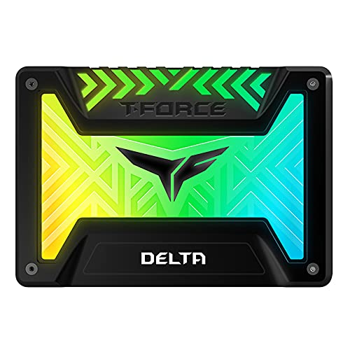 TEAMGROUP T-Force Delta RGB 500GB with DRAM 3D NAND TLC 2.5 Inch SATA III Internal Solid State Drive SSD 5V RGB Header (Read/Write Speed up to 560/510 MB/s) for PC Desktop Black T253TR500G3C313