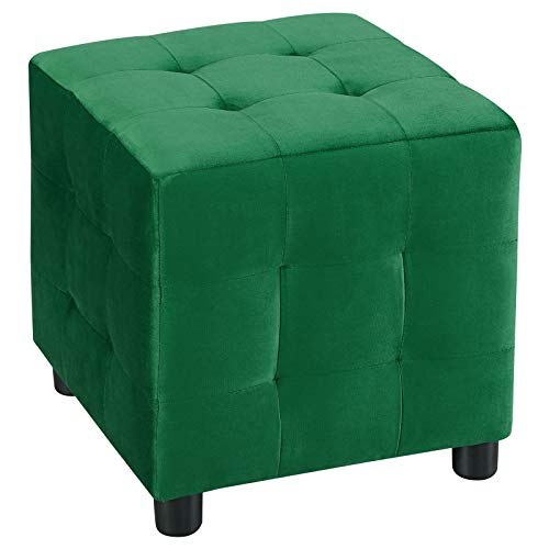 IDIMEX Würfelhocker Bazar aus Samt, Sitzhocker Sitzwürfel Polsterhocker Stoff Samtstoffbezug, in grün