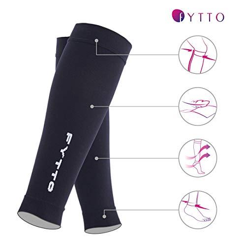 FYTTO 1022 fußlose Kompressionsstrümpfe – Klasse 1 – kniehohe Stützstrümpfe ohne Fuß | medizinische Kompressionsstulpen mit abgestufter Kompression 15 – 20 mmHg | weiß | L - 3