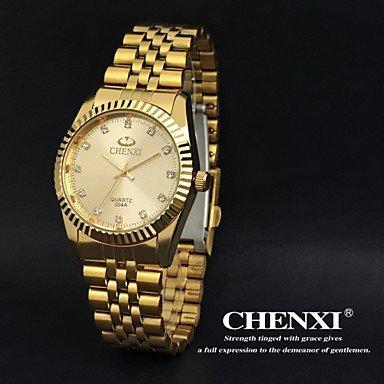 Armbanduhren Chenxi goldene Mode Herrenuhr Edelstahl Quarz (Farbe : Gold, Großauswahl : Einheitsgröße)