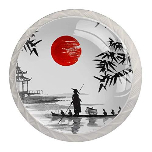 4 pomos de cristal para puerta de armario, tiradores de cajones, pintura tradicional japonesa para barcos