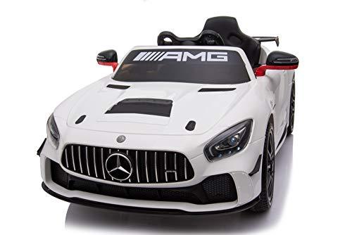 Babycar Mercedes GT4 AMG ( Bianco) Nuova Versione Macchina Elettrica per Bambini Ufficiale con Licenza 12 Volt Batteria con Telecomando 2.4 GHz Porte Apribili con MP3