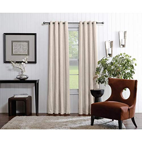allen + roth Merriby 84-in Ivory Polyester Grommet Light Filtering Single Curtain Panel