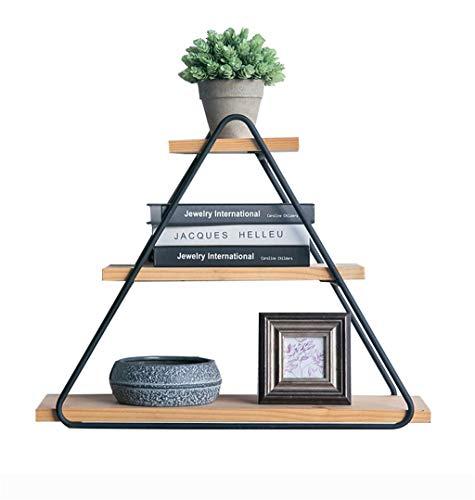 Étagère murale en bois de 3 niveaux et supports en métal noir accrochant la tablette pour la chambre comme support de stockage étagère décoration de mur Design Vintage Industrial