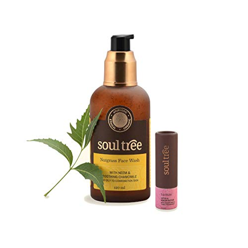 SoulTree Nutgrass Face Wash (120 Ml) with Lotus & Kokum Butter Lip Balm (3.5 Gram) - Value Pack