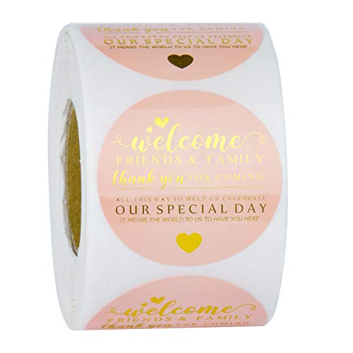 WRAPAHOLIC Welcome Wedding Favor Stickers - Gold Foil Design Wedding Favor Labels, Wedding Welcome Stickers - 2 x 2 Inch 500 Total Labels