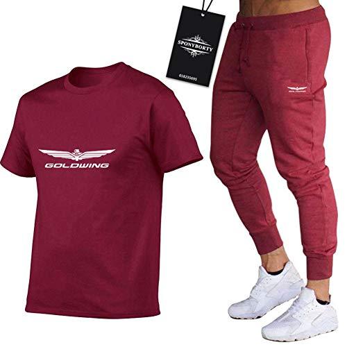 Martin Conjunto de Chándal de Dos Piezas para Gol-dw.ing.s Adecuados Mangas Corto a Rayas + Pantalones Largo para Hombre y Mujer X/Vino rojo/L