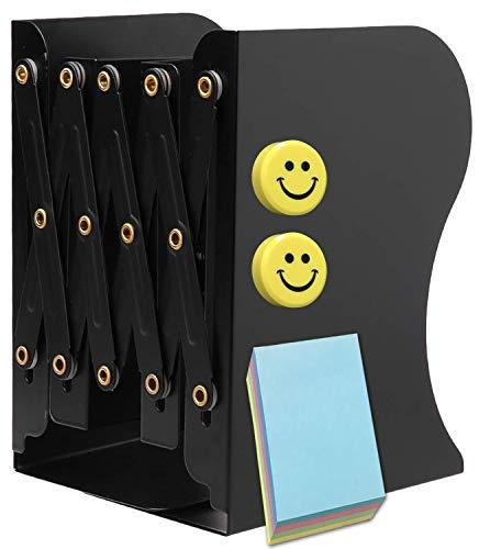 Qualsen Buchstützen, Metalleisen, verstellbar, Buchständer, Buchhalterung, strapazierfähig, rutschfest, für Zuhause, Büro, Schule, Bibliothek. Medium schwarz