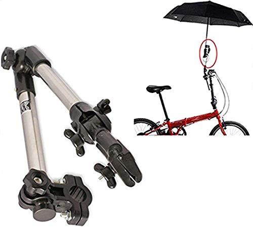 KINOEE Parapluie de connecteur de poussette de bicyclette de fauteuil roulant d'acier inoxydable de support n'importe quel parapluie d'angle - noir