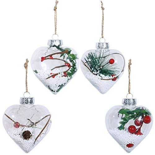 VORCOOL 4 PCS De Noël Amour Coeur Forme Ornement Boule De Noël Suspendus Arbre Porte Tenture Décoration Party Favor Home Jardin Pendentifs