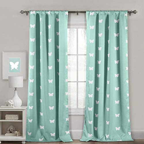 "Duck River Textiles WINK 10105=6 Wink Heavy Blackout Pole Top Pair Panel, Seafoam, 36""X84"""