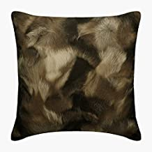 "Luxury Brown 24""x24"" (60x60 cm) European Pillow Shams, Faux Leather Animal Fur Print Euro Pillow Sham, Animal Pattern, Mod..."