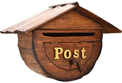 Mailbox Letter Box Wooden Retro Vertical Wall Hanging Decoration Outdoor Classic (Color : Wood, Size : Free size)