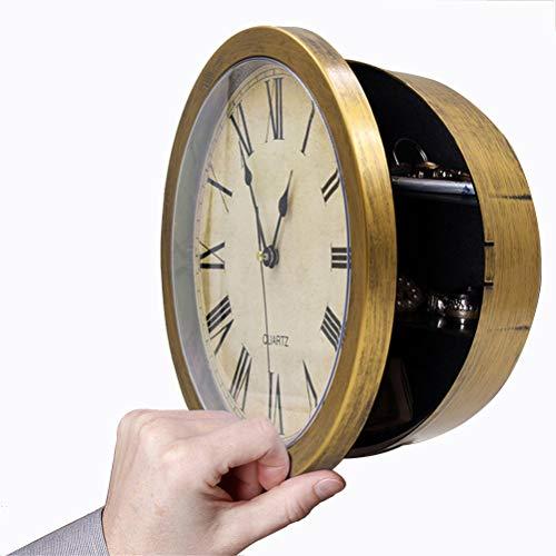 Akemaio Reloj de pared secreto con caja de almacenamiento para guardar dinero, joyas, objetos de valor, dinero en efectivo, caja de almacenamiento