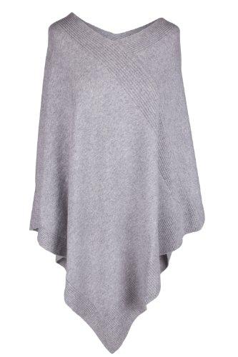 Love Cashmere Damen Designer 100% Kaschmir Poncho - 'Lichtgrau' - Handgefertigt in Schottland - UVP €600