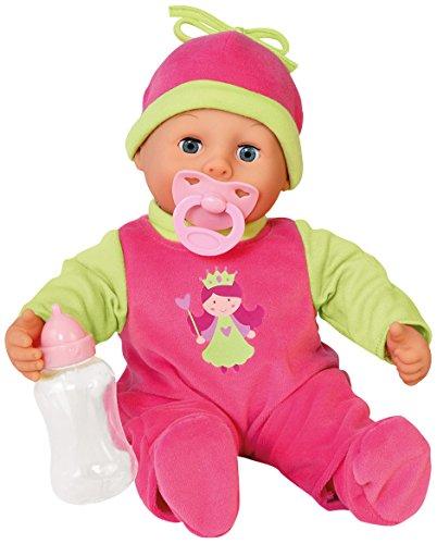Bayer Design 93806AA, Funktionspuppe First Words Baby mit Fläschchen und Schnuller, spricht 24 Babylaute, 38 cm, pink, grün