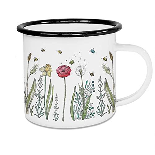 Ligarti Emaille Tasse (leicht & robust) | Camping Becher handveredelt in Deutschland | Trinkbecher für Kinder, Kaffeetasse, Emaillebecher | Bienenfreund | (Blumenwiese, Emaille 300ml)