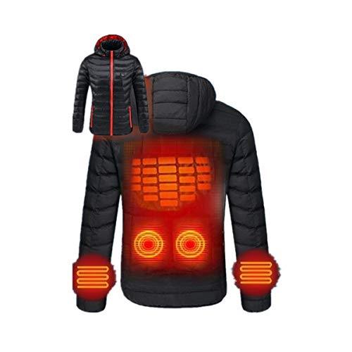 Sannysis Damen Beheizte Jacke Beheizbare Softshell Daunenjacke Heiz Wasserdicht Winddicht USB 30°~ 50°wärmende zum Outdoor Arbeite Winter Jacken Tägliches Tragen (S, Schwarz)