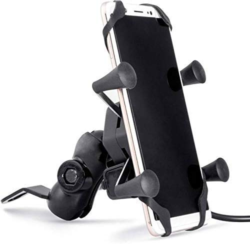 generic bike mobile charger universal bike cell phone spider bike multi-functional mobile holder x grip handlebar with free connector usb data cable- Black