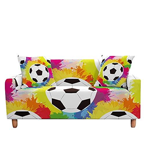WXQY Funda de sofá con Estampado de fútbol Funda de sofá en Forma de L de fútbol elástica Funda de sofá Antideslizante Envuelta herméticamente A3 1 Plaza
