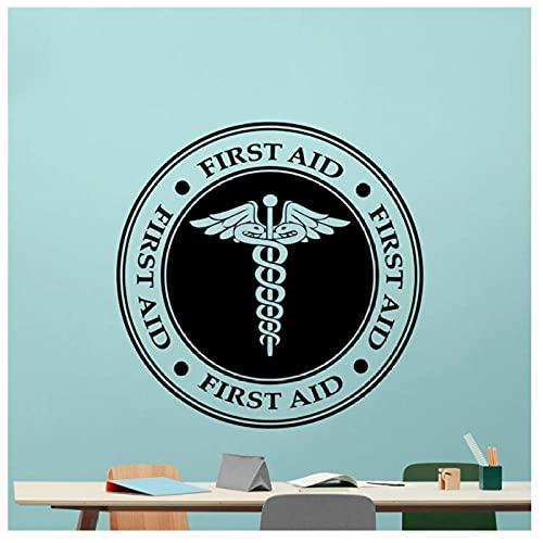 KBIASD Etiqueta de vinilo de pared con Logo de primeros auxilios símbolo de medicina signo médico pegatina de vinilo para ambulancia pegatina de pared de emergencia para coche 60x60cm