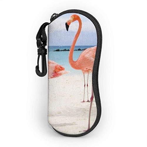 Estuche blando para gafas de sol Estuche protector portátil ultraligero con clip para cinturón, Flamencos en la playa Verano