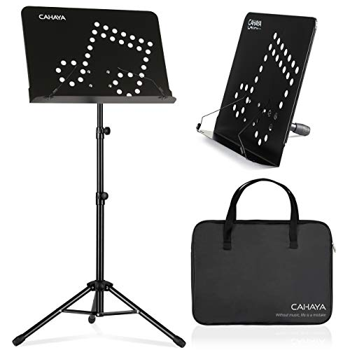 CAHAYA 2 in 1 Dual Use Sheet Music Stand & Desktop Books Stand with Carrying Bag Foldable Tripod Portable Sturdy for Laptop Projector Books Tabletop Stand