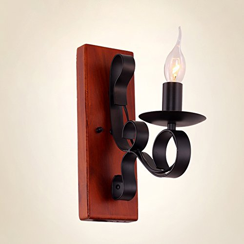 KMYX Retro mediterrane zwarte smeedijzeren wandlamp antieke kandelaar muur lantaarn klassieke elegantie E14 fitting gang gang slaapkamer balkon wandlamp