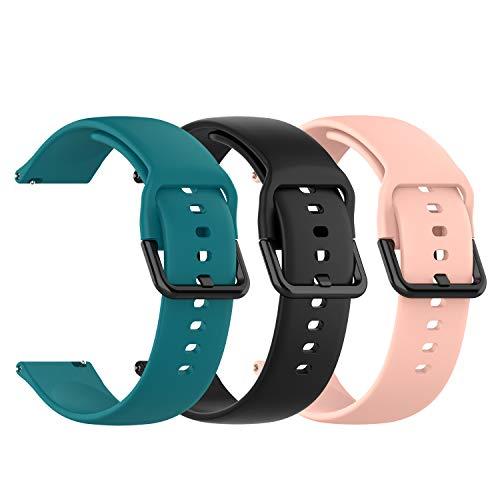 Chofit Correa compatible con Popglory Straps, bandas deportivas de silicona suave de liberación rápida, brazalete de repuesto para Popglory Smartwatch (grande, negro, rosa y verde)
