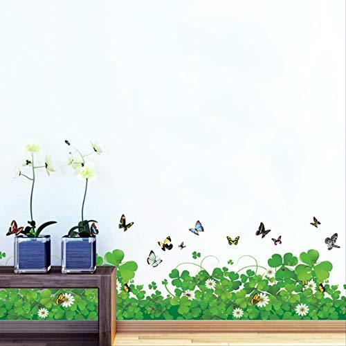 Muursticker Romantische Verse Klaver Rokken Lijn Vlinder Flora DIY Home Sticker Verwijderbare Keuken Woonkamer Mural Meisjes Kamer